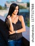 portrait of brunette fashion... | Shutterstock . vector #1177117888