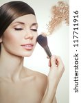 natural woman with closed eyes and powder - stock photo