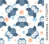 Stock vector owls pattern with flowers different owls characters seamless pattern spring and summer theme 1177121995