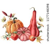 watercolor card with autumn... | Shutterstock . vector #1177148398