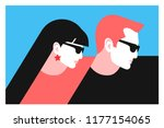 couple in love. two lovers  man ... | Shutterstock .eps vector #1177154065