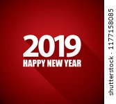 2019 happy new year creative... | Shutterstock .eps vector #1177158085