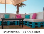 reserved beach table with sofas ... | Shutterstock . vector #1177164805