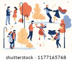 happy enamored couples meet and ... | Shutterstock .eps vector #1177165768