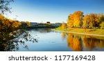 colorful city park scene in the ... | Shutterstock . vector #1177169428