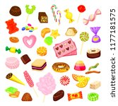 candy icon set. cartoon set of... | Shutterstock .eps vector #1177181575