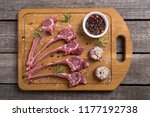 raw ribs or rack of lamb and... | Shutterstock . vector #1177192738