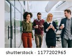 group of diverse coworkers... | Shutterstock . vector #1177202965