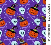 pumpkin and skull seamless... | Shutterstock .eps vector #1177203268