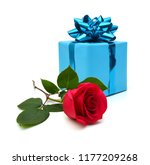 blue gift box with a blue bow... | Shutterstock . vector #1177209268