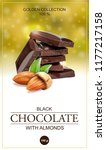 chocolate label with almonds.... | Shutterstock .eps vector #1177217158