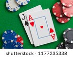 black jack cards and poker... | Shutterstock . vector #1177235338