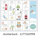 travel monthly calendar 2019... | Shutterstock .eps vector #1177265998