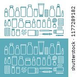 medications and pills icon set. ... | Shutterstock .eps vector #1177289182