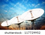 satellite dish antennas under... | Shutterstock . vector #117729952