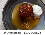flat lay of sticky date pudding ...   Shutterstock . vector #1177305625