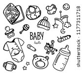 baby items doodle. hand drawing ... | Shutterstock .eps vector #1177311718