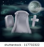 A spooky grave with RIP written on it and copy space below if you would like to add text. Great for Halloween, and the tombstone looks good as is if the copyspace is not required. - stock photo