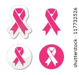vector set of pink ribbons... | Shutterstock .eps vector #117732526