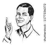 man pointing up. ink black and... | Shutterstock . vector #1177336372
