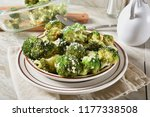 baked broccoli with parmesan... | Shutterstock . vector #1177338508