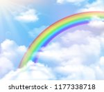rainbow and clouds background | Shutterstock .eps vector #1177338718