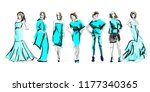 sketch. fashion girls on a... | Shutterstock .eps vector #1177340365