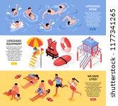 beach lifeguards horizontal...   Shutterstock .eps vector #1177341265