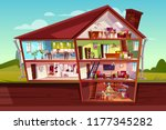 house cross section vector... | Shutterstock .eps vector #1177345282
