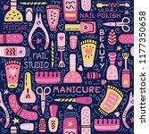 manicure vector seamless... | Shutterstock .eps vector #1177350658