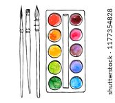 vector drawing art palette with ... | Shutterstock .eps vector #1177354828
