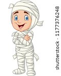 cartoon kid wearing mummy...   Shutterstock .eps vector #1177376248