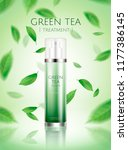 green tea spray toner ads with... | Shutterstock .eps vector #1177386145