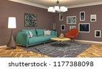 interior of the living room. 3d ... | Shutterstock . vector #1177388098