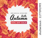 autumn sale background template ... | Shutterstock .eps vector #1177391995