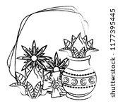 ugadi indian emblem sketch | Shutterstock .eps vector #1177395445