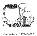 pot coins with beers sketch | Shutterstock .eps vector #1177404022