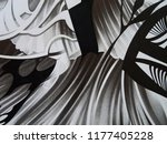 abstract black and white waves  ... | Shutterstock . vector #1177405228