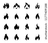 burning flame icon set  | Shutterstock .eps vector #1177409188