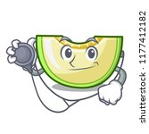 doctor slice of melon isolated... | Shutterstock .eps vector #1177412182