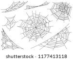 web spider cobweb icons set.... | Shutterstock .eps vector #1177413118