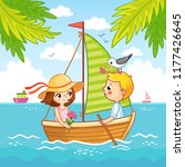 boy and a girl are sailing on a ... | Shutterstock .eps vector #1177426645