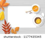 vector top view of autumn still ... | Shutterstock .eps vector #1177435345