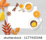 vector top view of autumn still ... | Shutterstock .eps vector #1177435348