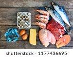 healthy food of animal origin... | Shutterstock . vector #1177436695