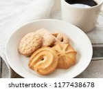 coffee and butter cookies  | Shutterstock . vector #1177438678