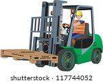 a green forklift truck and...   Shutterstock .eps vector #117744052