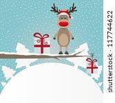 reindeer figure on branch snowy ...   Shutterstock .eps vector #117744622