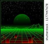 futuristic retro landscape of... | Shutterstock .eps vector #1177447678