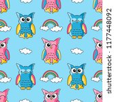 Seamless Pattern With Cute Owls ...